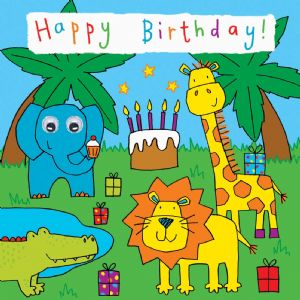 Childrens Birthday Card - Zoo Party